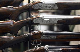 Weapons, guns, clothing, military and hunting equipment on international fair in Nurnberg